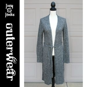 Express Gray Long Cardigan Sweater w/ Tie Large